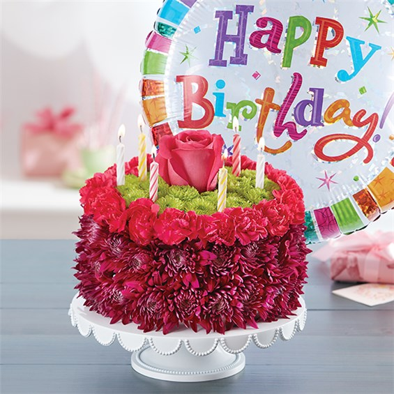 1-800-FLOWERS® BIRTHDAY WISHES FLOWER CAKE ™ PURPLE | 1800Flowers ...