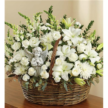 Heavenly-Angel-White-Basket-funeral-flowers