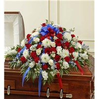 all-red-white-blue-casket-cover-for-funeral-flowers